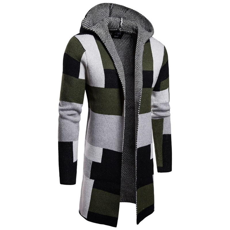 Men  Foreign Trade Stripe Color Matching Jackets Long Style Cardigan Outerwear Sweater Male Button Drop Shipfashion Top Coats