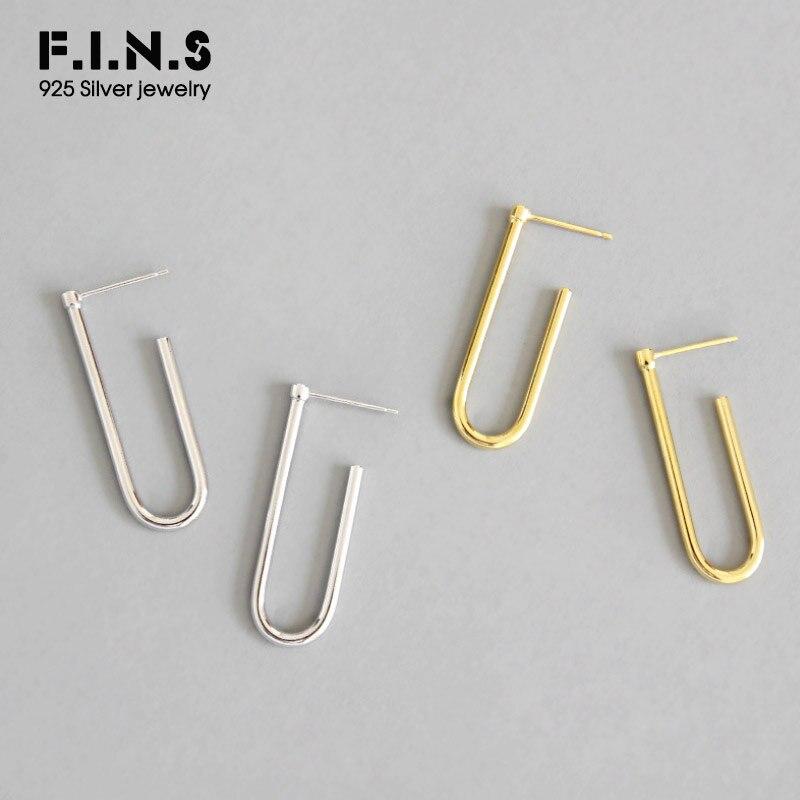 F.I.N.S Minimalist Jewelry U-Shaped Drop Earrings For Women 2019 New Simple 925 Sterling Silver Earrings Geometry Fine Jewelry