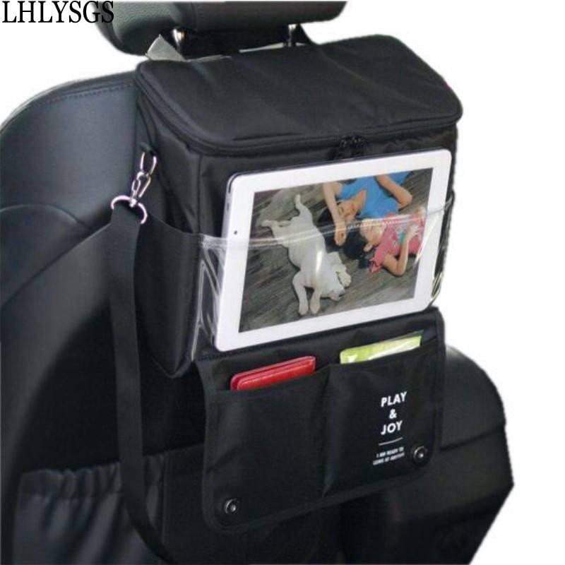 LHLYSGS ماركة السيارات سيارة المقعد الخلفي التمهيد المنظم متعدد جيب حقيبة السفر التخزين الغذاء العزل النسيج تخزين شنقا حقيبة