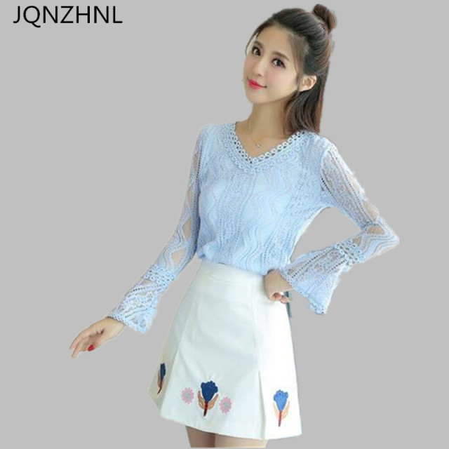 4550729b9ea JQNZHNL 2018 New Korean Fashion Two-piece Suit temperament Short Skirt Lace  Slim Show thin