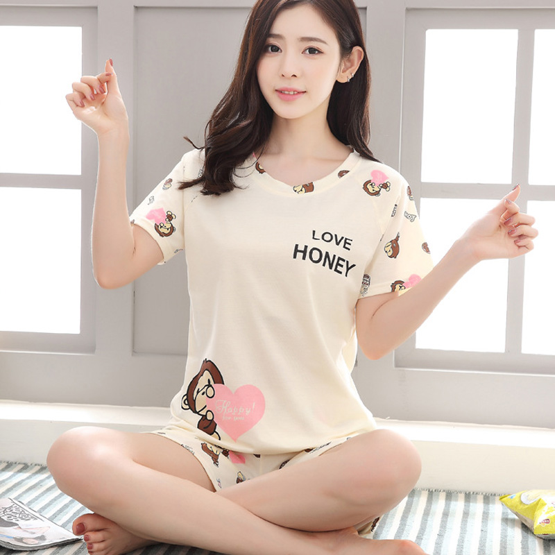 Sleepwear Lovely Home Suits Sexy Pyjama Short Sleeve   Pajamas     Set   2019 Women Pijamas Comfortable Girl Spring And Summer 2Xl