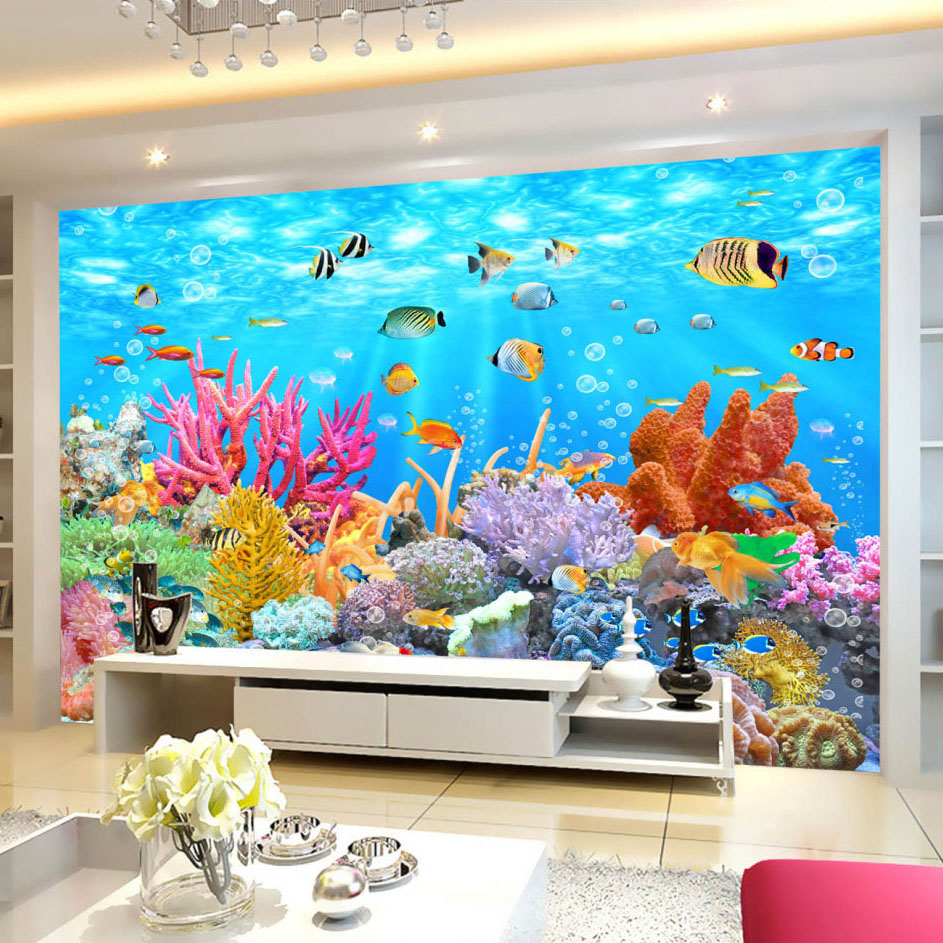 купить Custom Photo Wallpaper Coral Underwater World 3D Wall Painting Decorations Living Room TV Background Wall Covering 3D Wallpaper недорого
