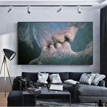 SOURBAN Couple Kiss Abstract Wall Art On Canvas Prints Modern Sweet Kiss Home Decorative Pictures For Living Room Cuadros Decor(China)