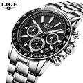 Люксовый бренд мужская кварцевые часы из нержавеющей стали Водонепроницаемый часы Мужчины многофункциональные Спортивные Наручные Часы Часы Relógio Masculino