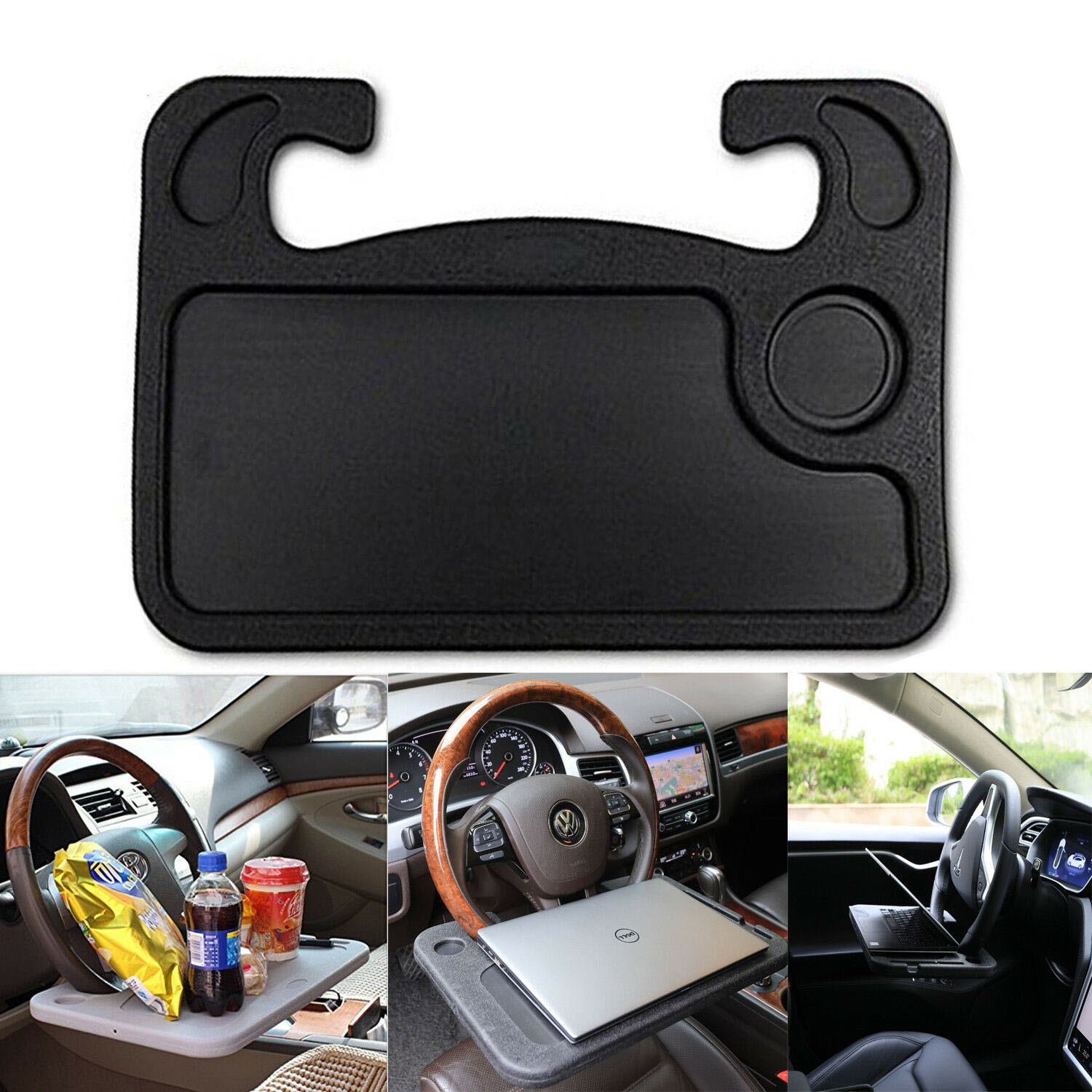 Portable <font><b>Car</b></font> Laptop Computer <font><b>Desk</b></font> Mount Stand Steering <font><b>Wheel</b></font> Eat Work Drink Food Coffee Goods Tray Board Dining Table Holder image