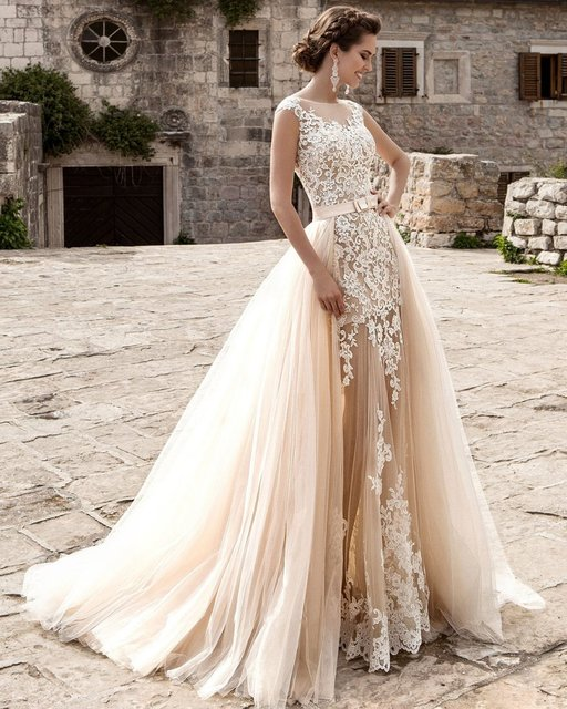 Vestido De Noiva Bridal Gown Champagne Vintage Y Lace Detachable Skirt Wedding Dress 2018