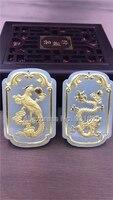 Bianco naturale HeTian Yu + Full Oro Intarsiato Intagliato Dragon Phoenix Stile Fortunata Collana Del Pendente + Certificato Gioielli di Moda