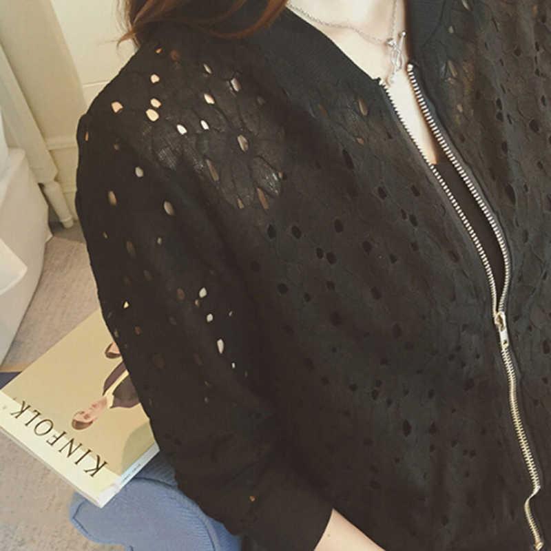 Летняя тонкая куртка, кружевная Женская одежда с длинными рукавами, Солнцезащитная одежда, дышащая куртка-бомбер, пальто черного и белого цвета
