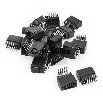 Dual Rows 2.54mm Pitch 2x5 Pin Bent Angle IDC Pin Headers 10Pins