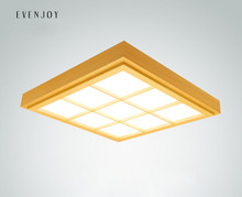 Modern Japanese Tatami Style Ultra-thin Solid Wood Ceiling Lamp with Pinus Sylvestris Shade Square Aisle Light