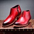 Новое Прибытие Натуральная Кожа Мужчины Сапоги Мода Баллок Стиль Мужчины Короткие Сапоги Удобные Мужчины Высокий Верх Лодыжки Загрузки Обувь Мужчины