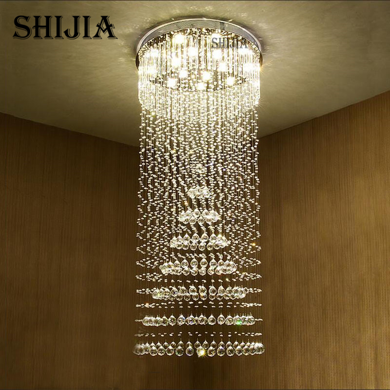 SHIJIA Crystal Chandelier Villa Lobby Lounge Dining Room Lamp Double Staircase Long Crystal Chandelier Light