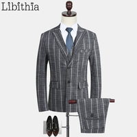 Для мужчин полосатый Slim Fit Костюмы работы Костюмы Блейзер костюм свадебное платье большой Размеры M 5XL серый синий Кофе комплект из 3 предмет