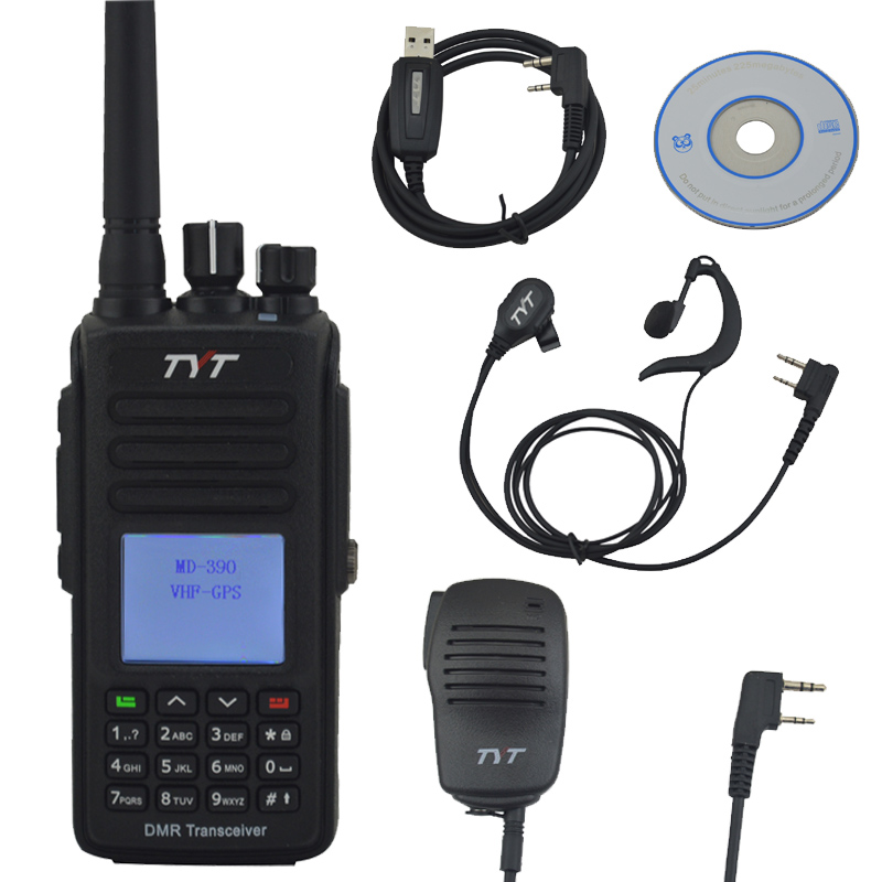 TYT Walkie Talkie MD-390 VHF+GPS DMR IP67 Waterproof Two-way Radio W/Free Hand Microphone,Programming Cable And Earpiece