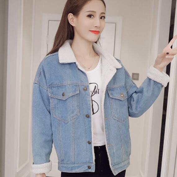 Denim Large Outwear Printemps Avec Jeans Laine Manches 4 Femmes Manteau D'agneau 2018 Poches Longues Jean Veste Chaud Ah434 En 66axZBn