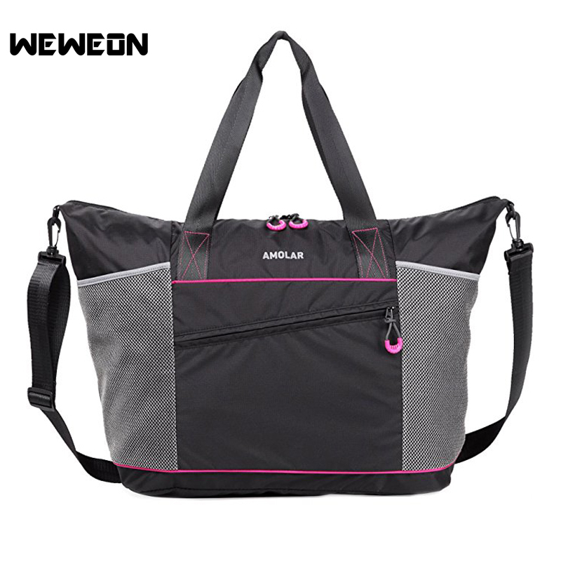 Waterproof Nylon Sports Tote Bag with Roomy Pockets Women Fitness Bag Best for Travel Gym Portable Female Training Gym Bag