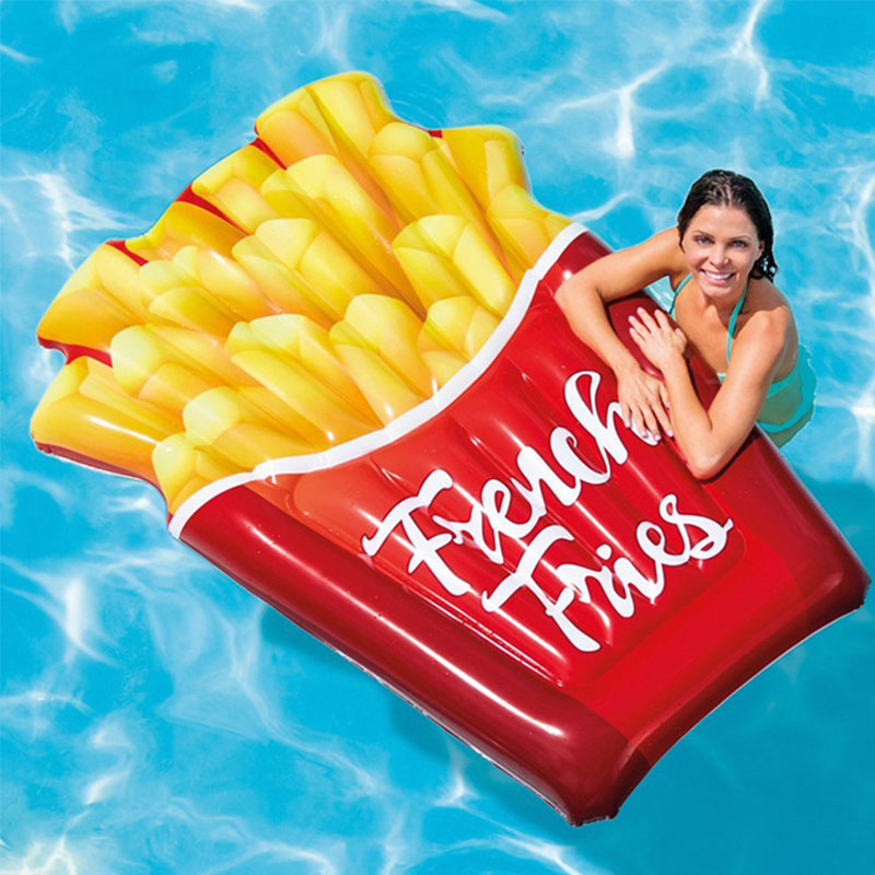 Inflatable French Fries Fun Pool Float Swimming Water Floaties Toys Inflatable Water Bed Air Mattress Fun Raft