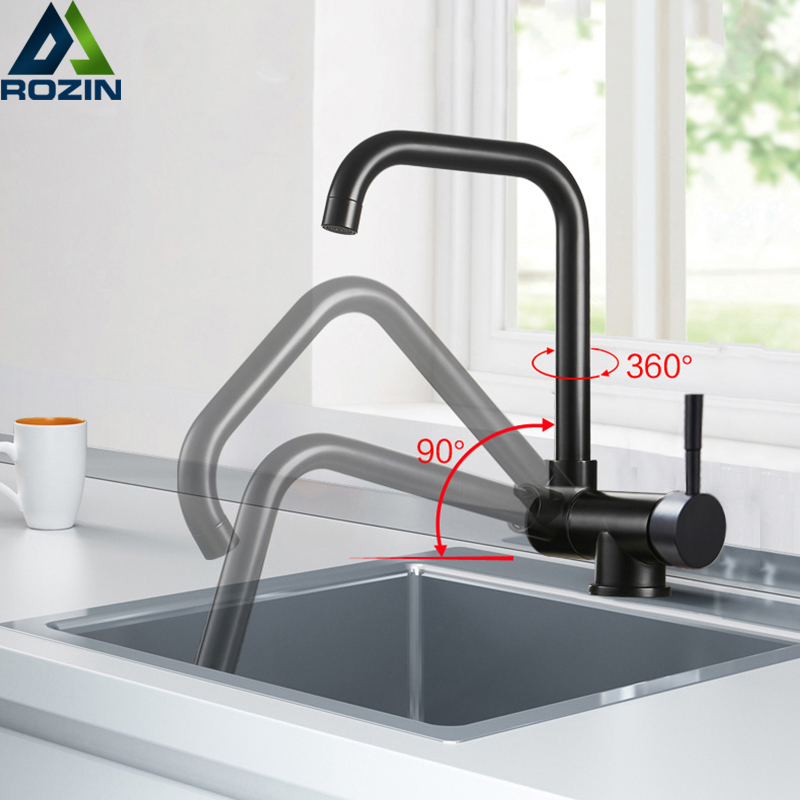 Inner Window Kitchen Rotating Faucet Folding Down Hot Cold Water Faucet Black Low Window Kitchen Mixer Faucet Single Handle