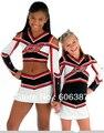 cheerleading uniform cheerleader outfit  long sleeve top+skirt metallic red white black custom your style mini order 5 sets