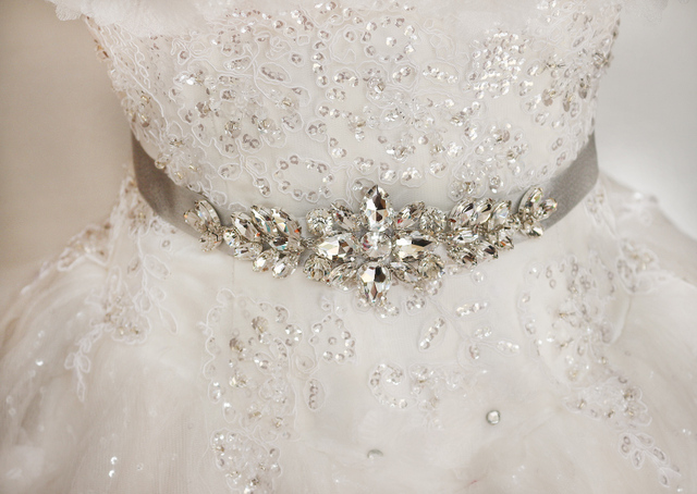 White/Ivory Wedding Belt With Shiny Crystal Beaded Sash For women Party/Prom Dress Belts Wedding Accessories