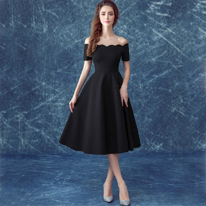 High Quality Black Knee Length Bridesmaid Dresses-Buy Cheap Black ...