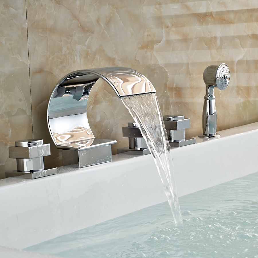 Solid Brass Waterfall Spout Bathroom Tub Faucet W/ Hand Shower Sprayer Mixer Tap