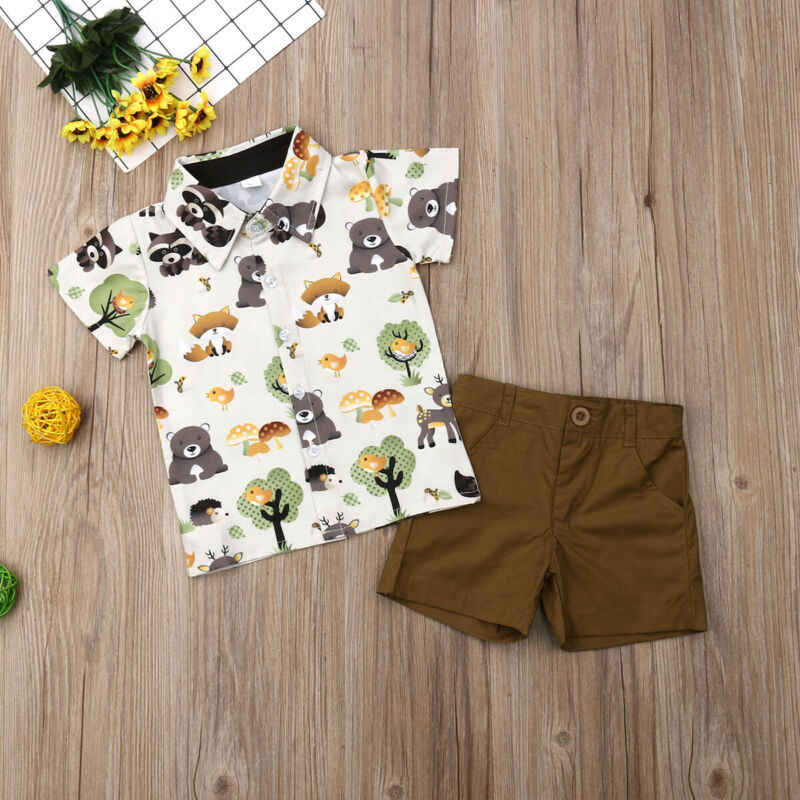 2019 New Children's clothing suit for Boys sets Kids Summer Short-sleeve Lapel T-shirt + Short Pants Two-piece baby set
