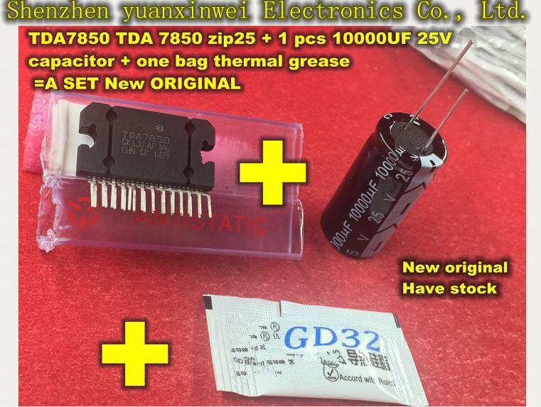Voiture amplificateur module TDA7850 TDA 7850 zip25 + 1 pcs 10000 UF 25 V condensateur + un sac thermique graisse = Un ENSEMBLE Nouveau ORIGINAL