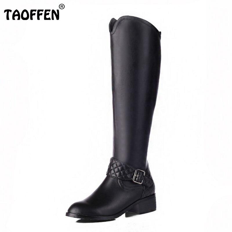 Femmes en cuir véritable bout rond genou bottes femme talon carré Zipper Botas nouveau chevalier bottes femme chaussures taille 33-46