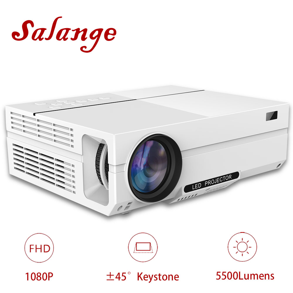 Salange T26K Full HD Projektor, 5500 Lumen LED Projektor, Heimkino, HDMI VGA USB, 1080 p Film Beamer Option T26 Proyector