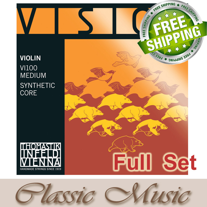 Thomastik Vision (VI 100) Violin Strings ,Full set  Ball end ,Set 4/4 Medium. Made in Austria.With Freeshipping! free shipping evah pirazzi violin strings full set ball end made in germany for 4 4