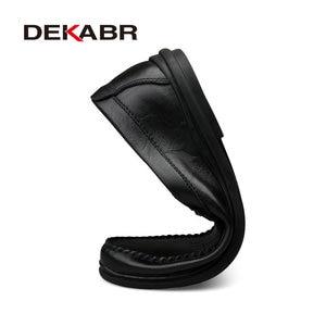 Image 3 - DEKABR İtalyan erkek ayakkabı rahat lüks marka yaz erkek mokasen ayakkabıları bölünmüş deri Moccasins rahat nefes tekne ayakkabı üzerinde kayma
