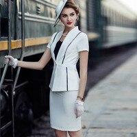 Женский комплект, офисный женский элегантный топ с коротким рукавом и юбка карандаш, костюм, комплект из 2 предметов, деловая одежда, летняя