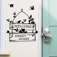 Welcome Home Sweet Home Door Sticker Beauty Decoration For Home Home Quote Wallpaper Poster Mural Fashion Ornamnet Decals W89 все цены