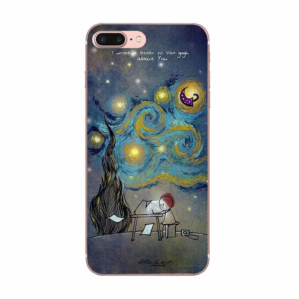 Fajne Van gogha śmieszne Star niebo dla Galaxy J1 J2 J3 J330 J4 J5 J6 J7 J730 J8 2015 2016 2017 2018 mini Pro osłona na ekran z TPU