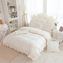 4-6pcs Beige/pink Princess Lace Bedspread Jacquard bedding set king queen size  Ruffles duvet cover bed skirts bedclothes cotton
