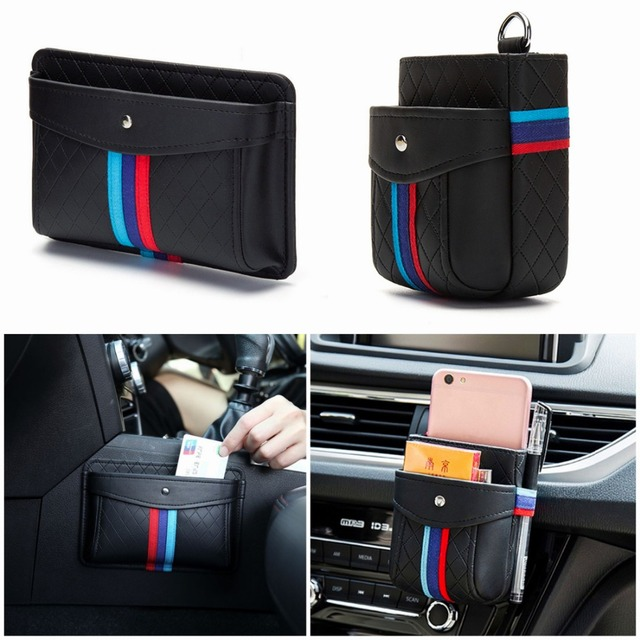 Storage Bag Air Outlet Vent Hanging Box Phone Holder Trash Box Organizer Pouch for BMW PU Black Car Interior Accessories