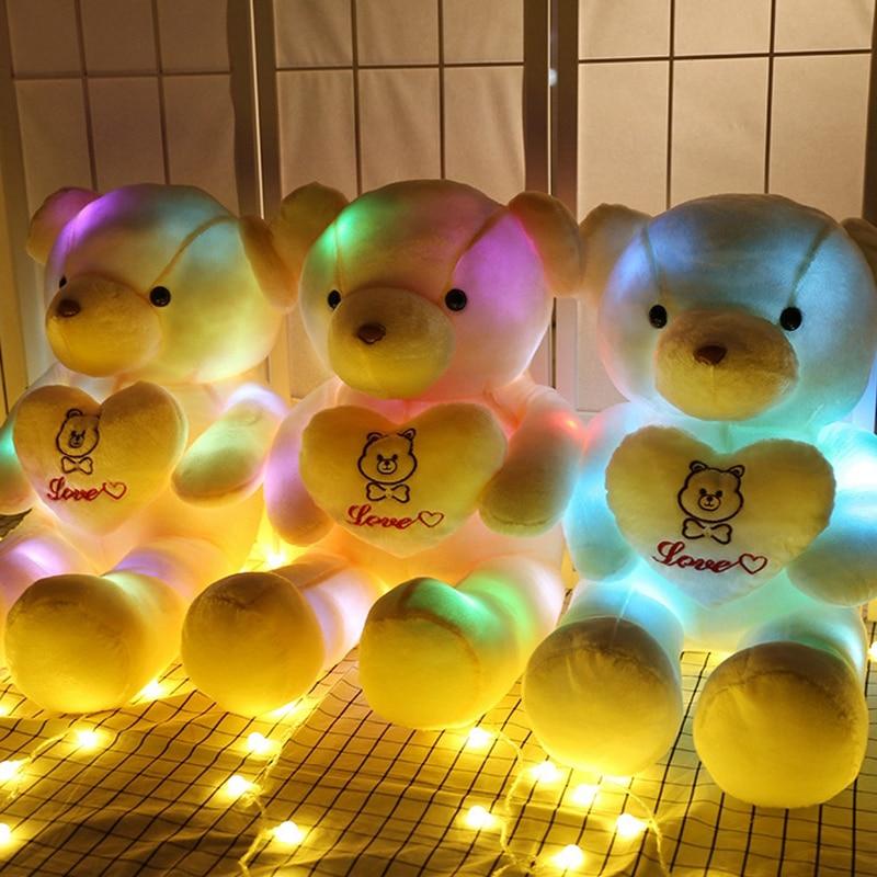 60cm Färgglatt LED-ljus Teddybjörn Färgglada LED-björnduk Plushdocka för barngåvor för tjejer