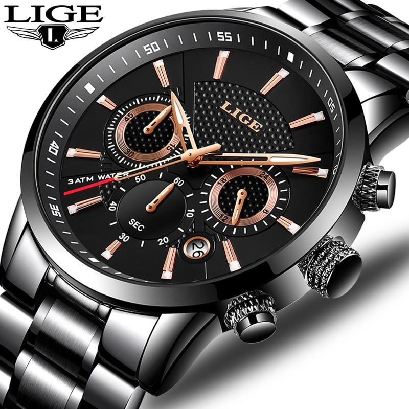 Relojes LIGE Hommes Montre Top Marque De Luxe De Mode Casual Quartz Horloge En Acier Inoxydable Militaire Étanche Watchs Relogio Masculino