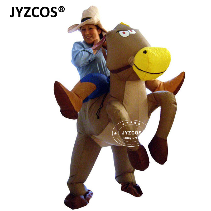 jyzcos purim halloween costumes for woman adult kids girls boy outfits inflatable cowboy ride horse costumes cosplay fancy dress