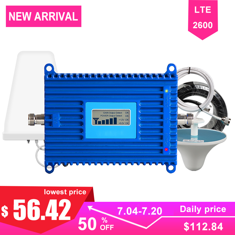 4g Signal Booster LTE 2600mhz Cellular Cell Phone Communication Amplifier 70dB High Gain AGC Band 7 For Repeater LDPA Antenna >