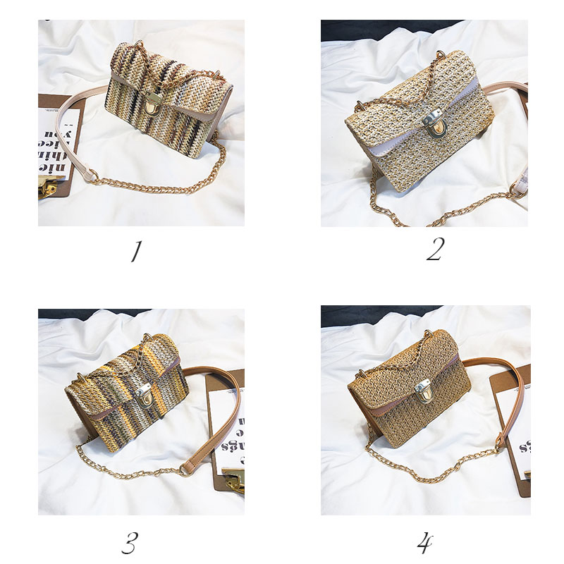 M.S Women Straw Bag Summer Beach Tote Mini Flap Bags Woven Lock Shoulder Messenger Bags Fashion Female Casual Pouch bolsas WB510