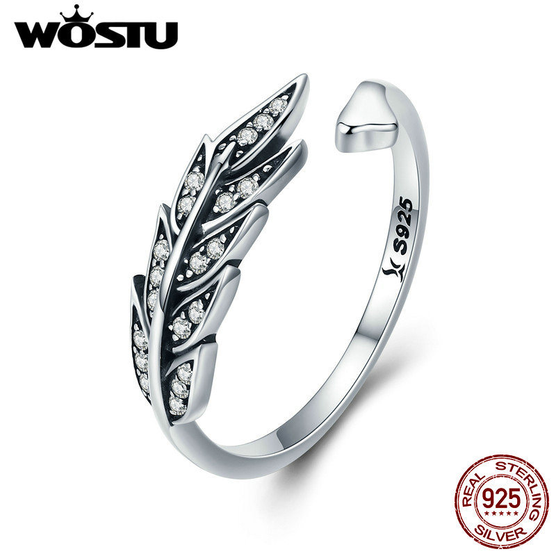 WOSTU NEW 925 Sterling Silver Vintage Style Leaves , Clear CZ Adjustable Rings For Women Fashion S925 Silver Jewelry Gift FIR313