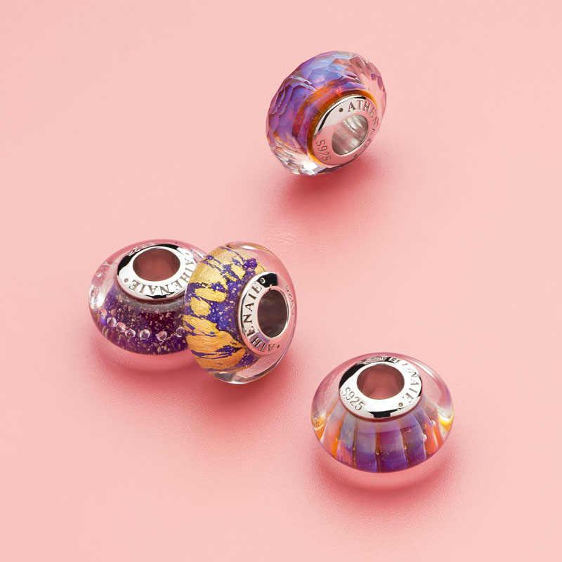 Athenaie Asli Murano Kaca 925 Perak Inti Ungu Dreamland Pesona Bead Cocok Eropa Pesona Gelang Hadiah untuk Hari Natal
