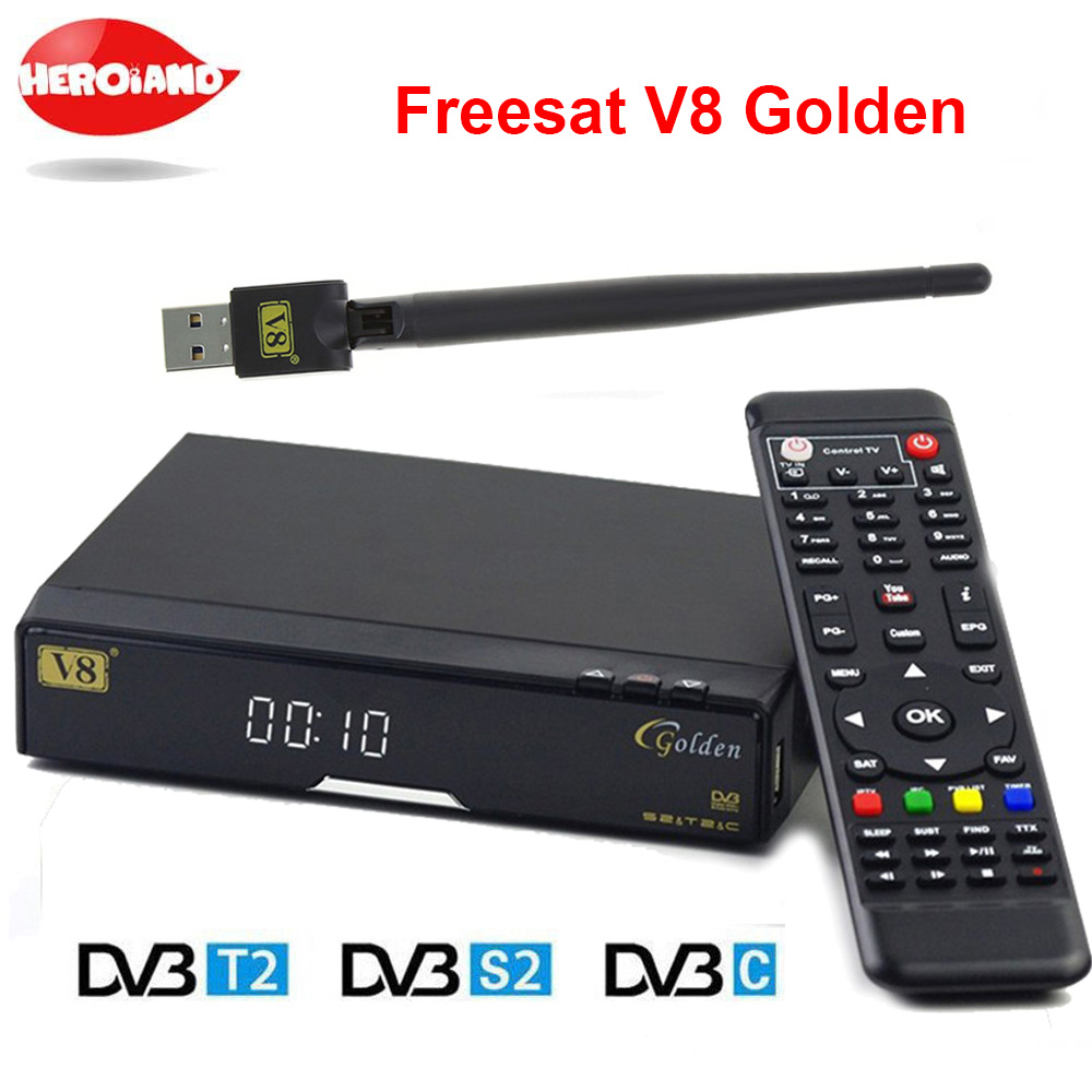 Openbox V8 Golden DVB-S2/ DVB-T2 DVB-C Receptor satellite Decoder USB WIFI receiver Support PowerVu BissKey Cccamd Newcamd PV V8 wholesale freesat v7 hd dvb s2 receptor satellite decoder v8 usb wifi hd 1080p support biss key powervu satellite receiver