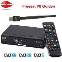 Openbox V8 Золотой DVB-S2/DVB-T2 DVB-C рецепторов спутниковый декодер USB WI-FI приемник Поддержка powervu bisskey резких перемен температуры Newcamd PV V8