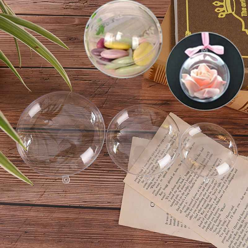 1Pc 70/90/110Mm Kerstboom Decorationsgift Present Candy Box Decoratie Diy Bal Transparante Open Clear snuisterij Ornament
