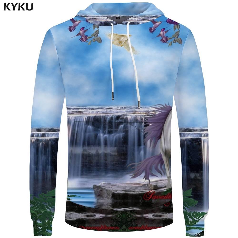 KYKU Unicorn Hoodies Men Waterfall Sweatshirts Sweatshirt Mens Clothing Big Size 3d Hoodies Hoddie Cool Hip Hop Print Winter