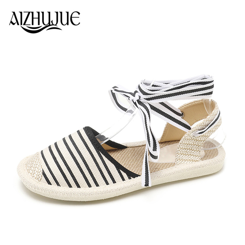 FAMIAO Canvas Espadrille Women Flats Ankle Strap Hemp Bottom Fisherman Shoes For 2018 Spring/Autumn Women Loafers