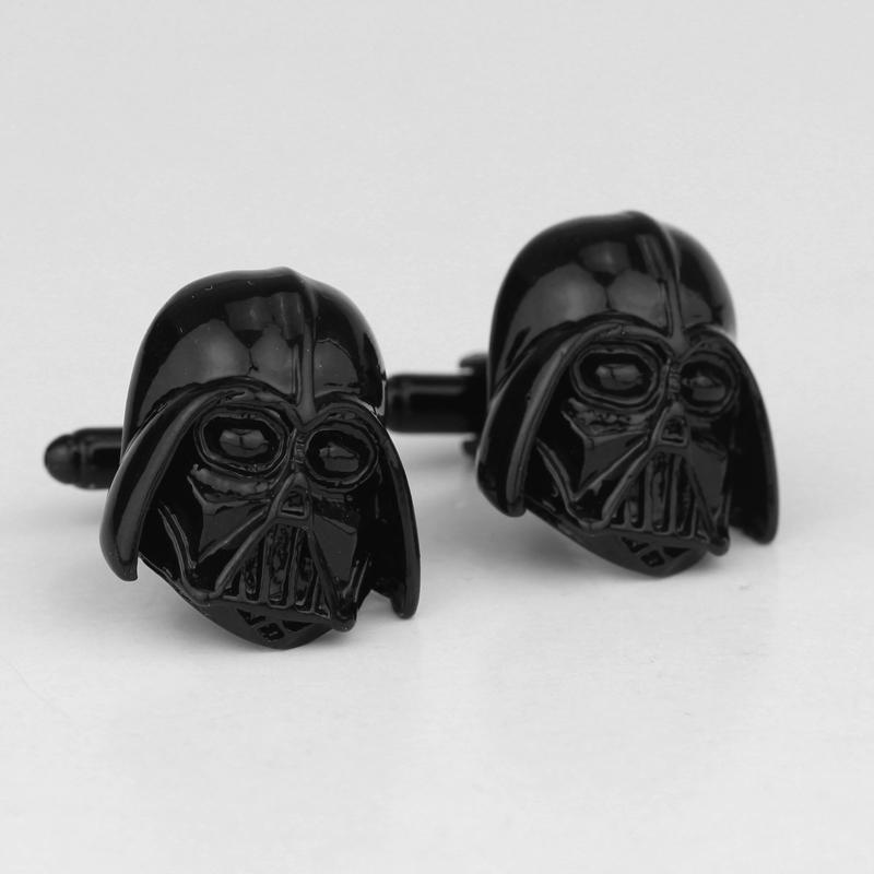 dongsheng Star Wars Cuff Links Black Plated Engravable Darth Vader Star Wars Cufflinks Clasp For Men Shirt Cuff Buttons-40 spade ace pattern electroplating brass cuff links buttons silver black pair